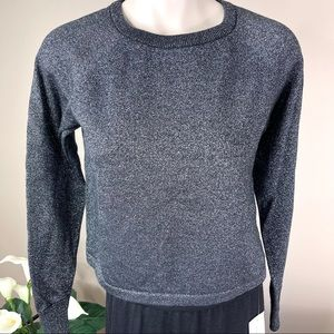 FOREVER 21 Cropped silver/black metallic sweater S